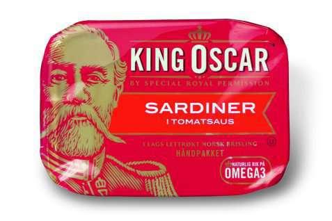 Bilde av King Oscar brislingsardiner i tomatsaus.