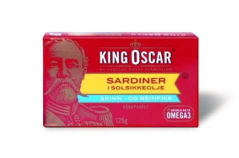 Bilde av King Oscar skinn og beinfrie sardiner i solsikkeolje.