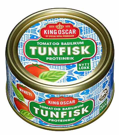 Bilde av King Oscar tunfisk med tomat og basilikum.
