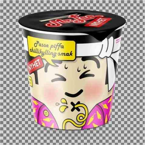 Bilde av Mr Lee kopp nudler med passe piffa chilikylling smak.