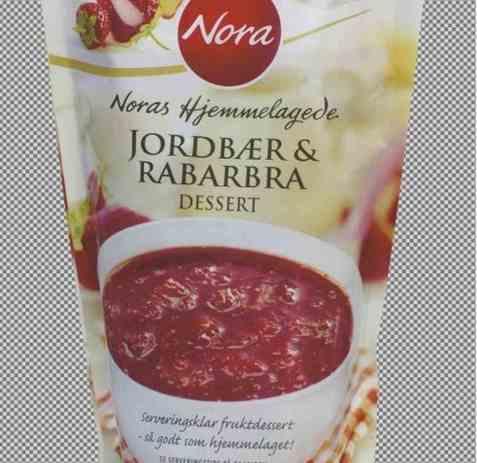 Bilde av Nora jordbær og rabarbra dessert.