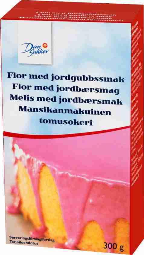 Bilde av Dansukker Melis med jordbærsmak.