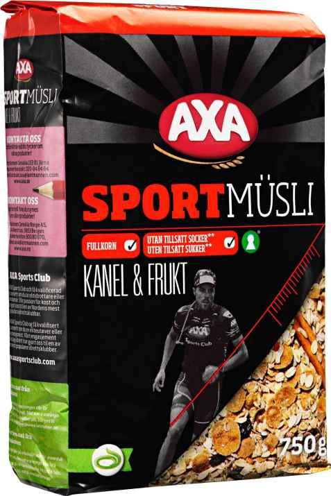 Bilde av AXA sport musli kanel og frukt.