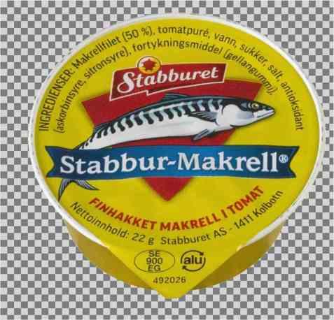 Bilde av Stabbur finhakket makrellfilet i tomatsaus porsjonspakning.