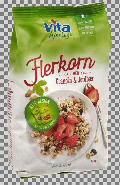 Bilde av Vita hjertego flerkornblanding med jordbær og granola.