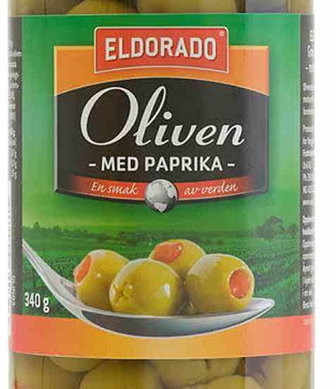 Bilde av Eldorado oliven grønn med paprika.
