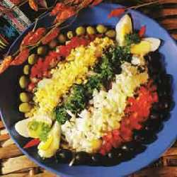 Brasiliansk klippfisksalat oppskrift.