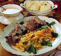 Fersk kjøtt og suppe oppskrift.