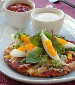 Eggende porsjonspizza oppskrift.
