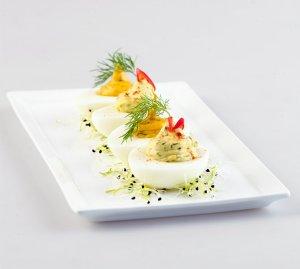 Prøv også Deviled eggs(fylte egg).