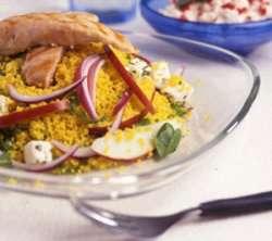 Couscous - salat med kylling og rucola oppskrift.