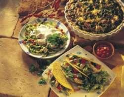 Bilde av Kalkunpai med spinat og bacon.