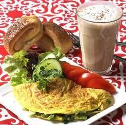 Prøv også Omelett og Caffe latte.