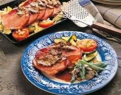 Sennepsgratinert skinke med rødvinsaus oppskrift.