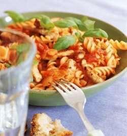 Pasta med svinekjøtt og tomatsaus oppskrift.