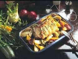 Estragonspekket svinekam med spennende grønnsaker oppskrift.