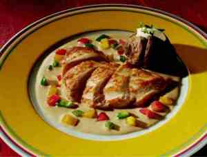 Kyllingfileter i smakfull fl�tesaus.