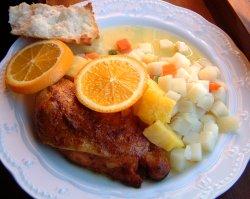 Marinert kylling med appelsinsaus.