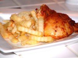 Kylling med pommes frites oppskrift.