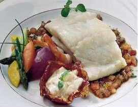 Sitron bakt torsk fylt med tigerreker og Strandask oppskrift.