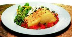 Klippfisk med asparges oppskrift.