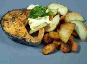 Prøv også Stekt laks med aioli.