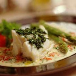 Prøv også Skrei med pesto og grønn asparges.