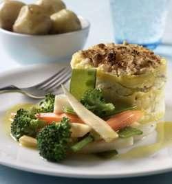 Skreilasagne med glaserte grønnsaker oppskrift.