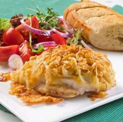 Sprøstekt kylling med ost oppskrift.