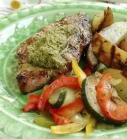 Skinkebiffer med Provencegrønnsaker oppskrift.