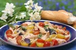 Prøv også Kyllingfilet med spagetti, cherrytomater og merian.