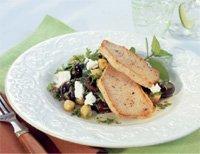Ytrefilet av svin med lun kikert og spinatsalat oppskrift.