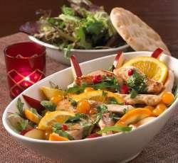 Kyllingfilet med sitrus salat oppskrift.