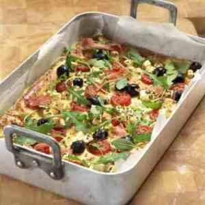 Pizzapannekake oppskrift.