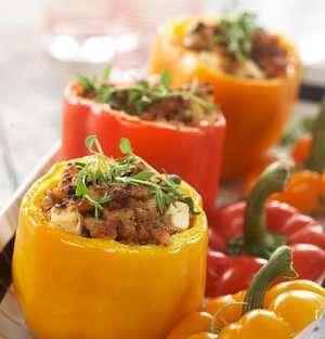 Fylt paprika med kyllingkjøttdeig oppskrift.