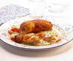Prøv også Grillede kyllinglår med stuede gulrøtter.