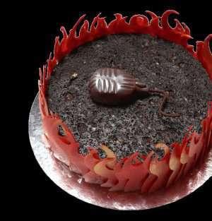 Sjokoladekake med bjørnebærkesam oppskrift.