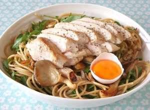 Prøv også Pasta med kylling, sopp og egg.