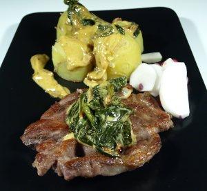 Prøv også Svinekotelett med stuet spinat.