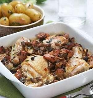 Prøv også Ovnsbakte kyllinglår med estragon og sopp.