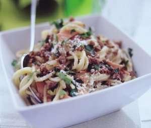 Bilde av Spaghetti Carbonara med Quorn deig.