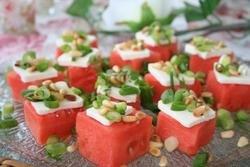Tapas med vannmelon og fetaost oppskrift.