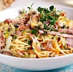 Spagetti med pepperskinke og spisskål oppskrift.