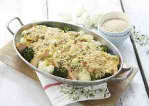 Prøv også Brokkoli- og blomkålform med spicy saus.