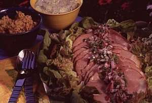 Prøv også Urtemarinert skinke med rød og grønn pesto.
