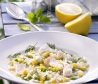 Grønnsaksrisotto med fiskestykker oppskrift.
