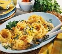Prøv også Pasta og ostesaus med mais og erter.