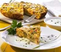 Grønnsakstortilla med créme fraíche og persille oppskrift.