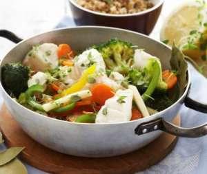 Torskegryte med grønnsaker oppskrift.