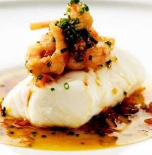 Bakt torsk med soyasmør og reker oppskrift.